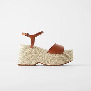 NWT Zara Size 7.5 Brown Jute Platform Wedges